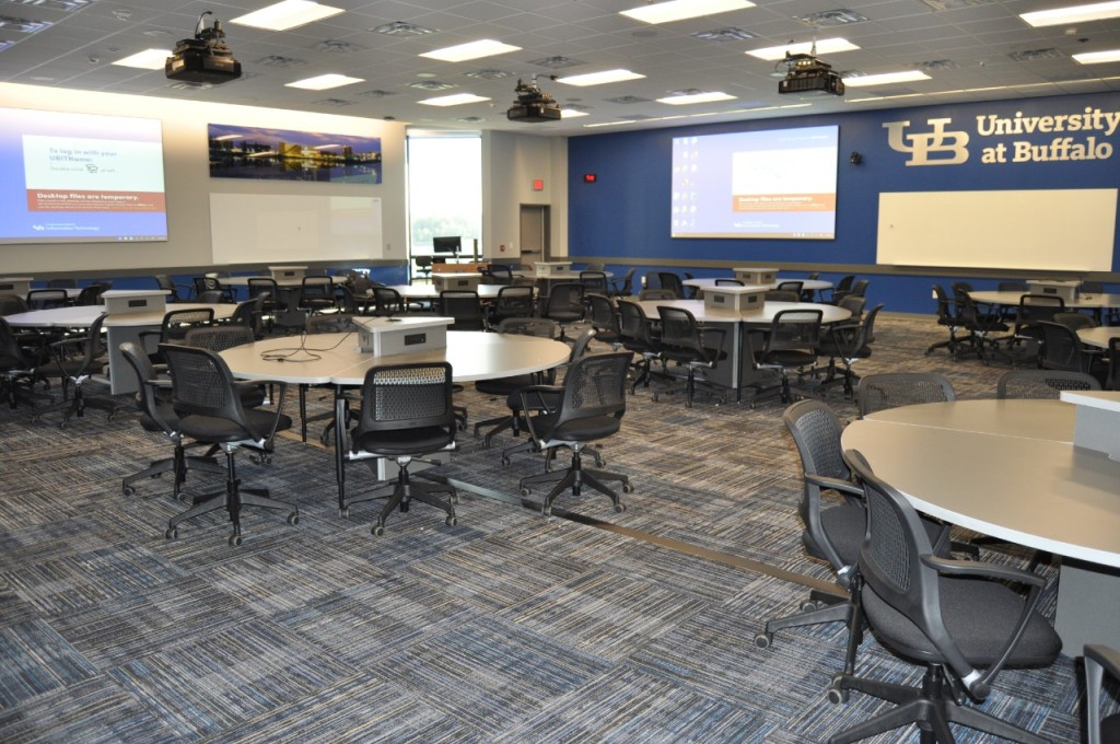 A classroom for 100 students.