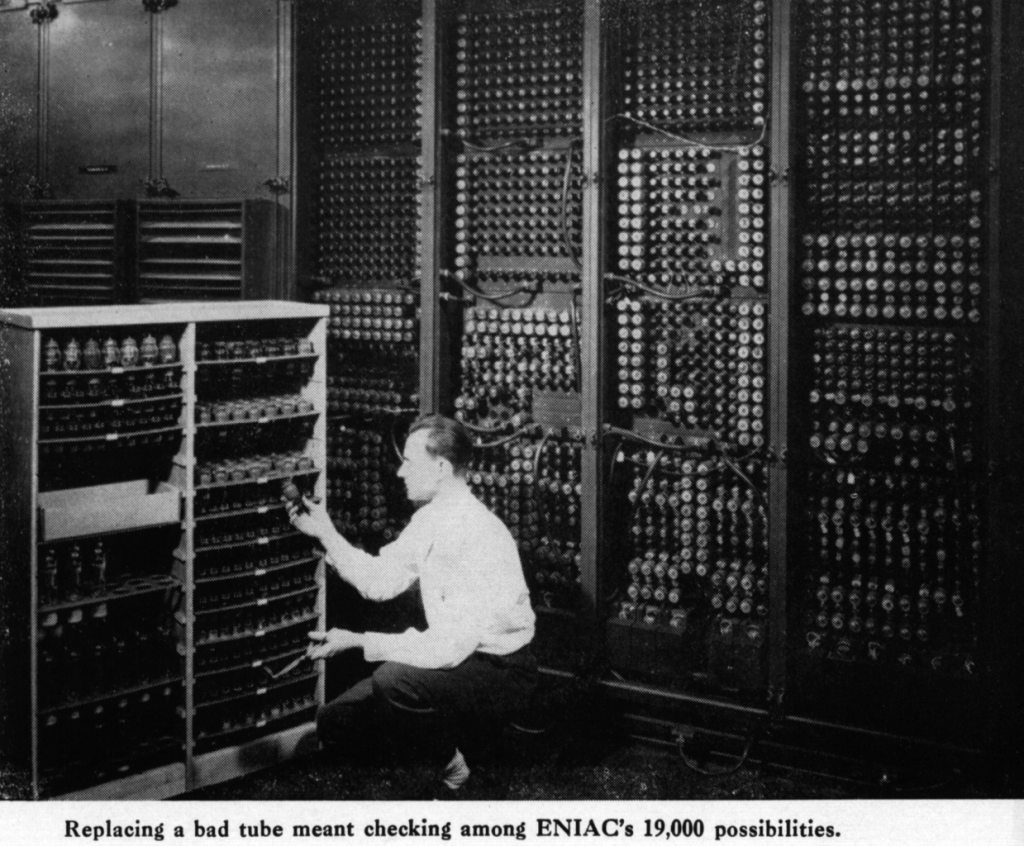 Photo of ENIAC, one of the earliest computers.